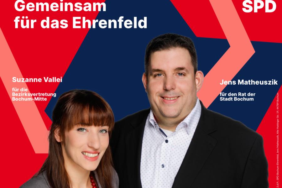 Plakat: Gemeinsam für das Ehrenfeld - Suzanne Vallei und Jens Matheuszik