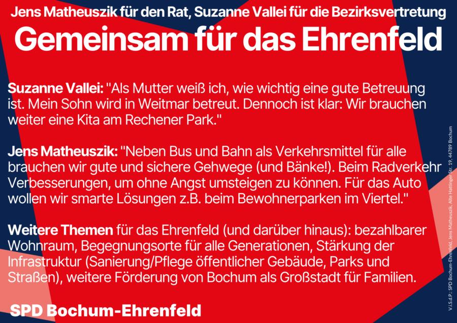 Plakat: Gemeinsam für das Ehrenfeld - Zitate und Themen von Jens Matheuszik und Suzanne Vallei