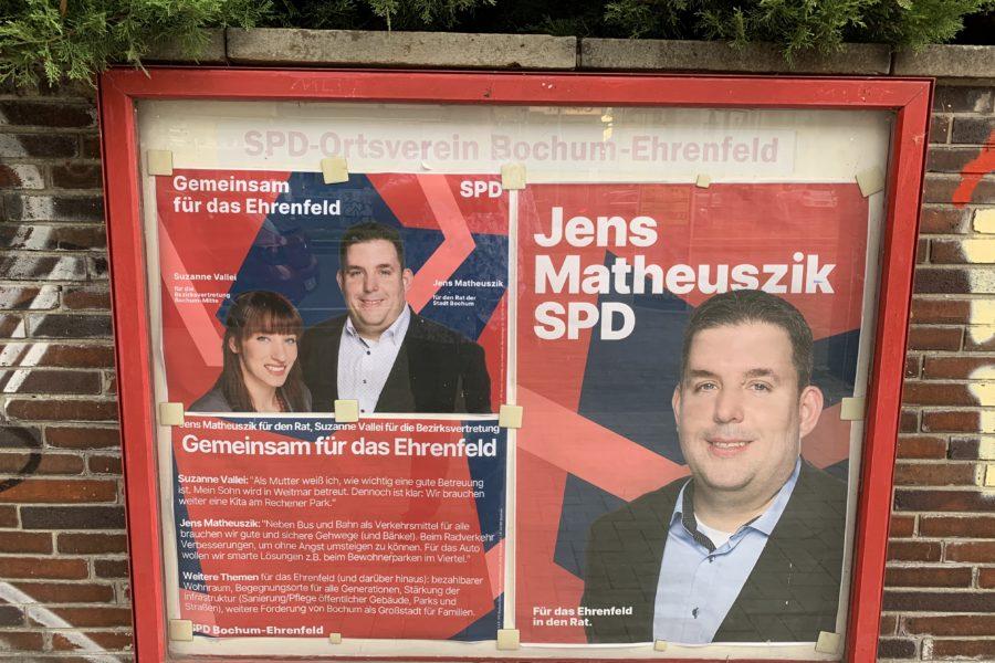 Schaukasten (SPD Ortsverein Bochum-Ehrenfeld) zur Kommunalwahl am 13. September 2020