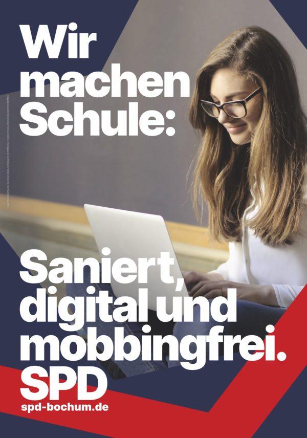 Wir machen Schule: Saniert, digital und mobbingfrei (Plakat der SPD Bochum)