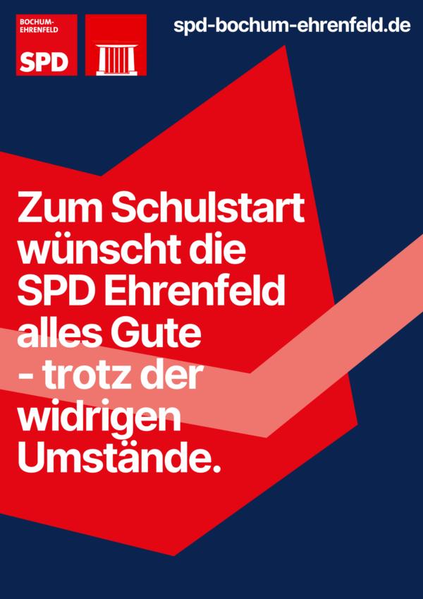 Zum Schulstart wünscht die SPD Ehrenfeld alles Gute - trotz der widrigen Umstände.
