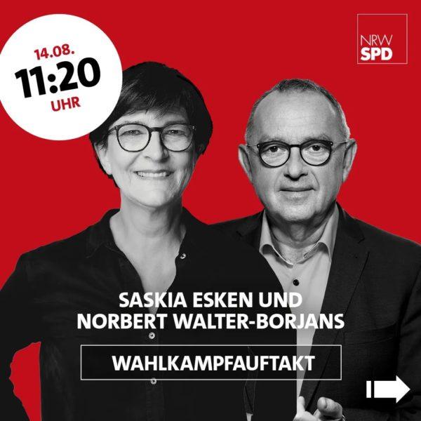 Wahlkampfauftakt mit Olaf Scholz am 14. August 2021 in Bochum: Begrüßung durch Saskia Esken und Norbert Walter-Borjans um 11:20 Uhr