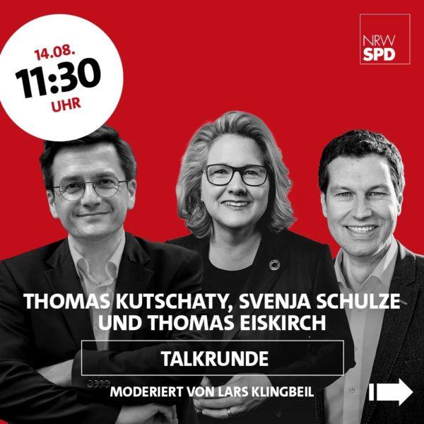 Wahlkampfauftakt mit Olaf Scholz am 14. August 2021 in Bochum: Talkrunde um 11:30 Uhr mit Thomas Kutschaty, Svenja Schulze und Thomas Eiskirch (moderiert von Lars Klingbeil)